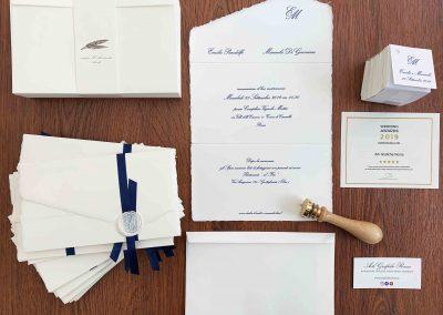 Partecipazione in Carta Amalfi stampa in Blu