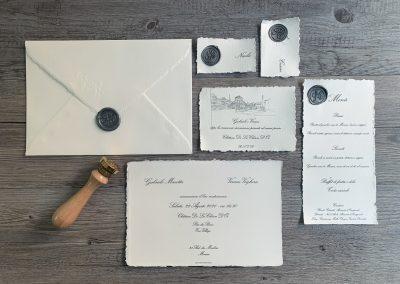 Parure composta da Invito, menù, segnaposto in Carta Amalfi